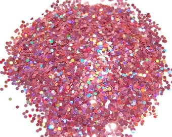 Rose SOLVENT RESISTANT HOLOGRAPHIC Glitter 0.062 Hex - 1 Fl. Ounce for Glitter Nail Art, Glitter Nail Polish & Glitter Crafts