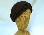 Vintage Ladies Hat Brown Knit Turban Bloomingdale's
