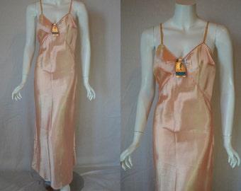 1930s Rayon Slip, 38, Medium, Large, Kickernick Pinky Peach, New Old Stock