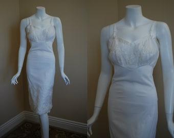 1950s Gotham Bridal White Slip, 32, Xsmall, Small, New Old Stock