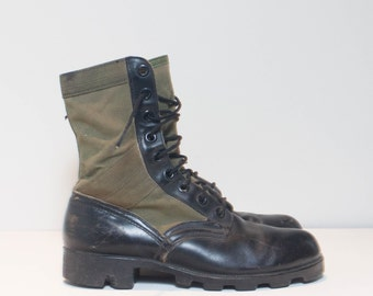 7 W | Vintage Military Jungle Boots in Black Leather & Green Canvas