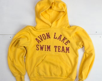 XS | Yellow Hooded Sweatshirt 'Avon Lake Swim Team'