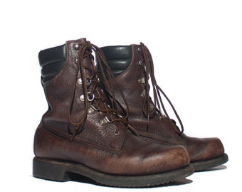 8 | Men's Vintage Red Wing Irish Setter Insulated Sport Boots Dark Brown Round Toe Work Boots