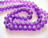 Beach Glass Beads Purple Frosted 8MM
