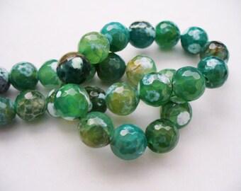 Fire Agate Beads Gemstone Faceted Dark Green Round 10MM