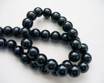 Glass Pearls Midnight Blue/Black 8MM