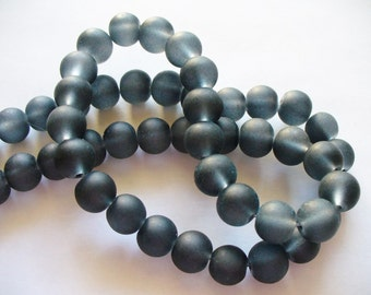 Beach Glass Beads Black Frosted 8MM