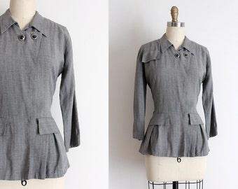 vintage 1940s jacket // 40s gray wool blazer