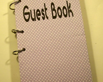 Guest Book, Baby Shower Guest Book, Sign in Book, New Mom Advice Book, Birthday Guest Book,  Lavender Dots