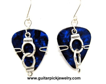 Guitar Pick Earrings - with handcuffs for the jailbirds
