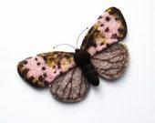 Felt Butterfly Joseph Scheer Moths needle felted handmade brooch needle felted miniatures Fiber art gift for her Wet Felted