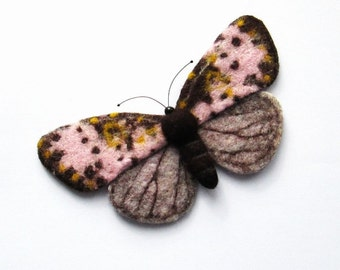 Felt Butterfly Joseph Scheer Moths needle felted handmade brooch needle felted miniatures Fiber art gift for her Wet Felted