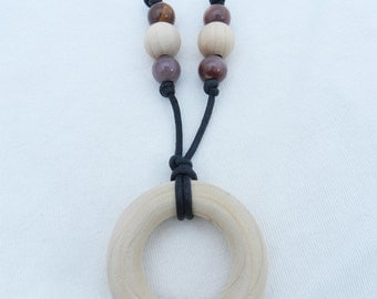 Wooden Teething Ring Necklace with tiger eye accent beads