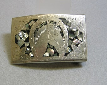 Vintage Mexican Alpaca Metal Horse Belt Buckle