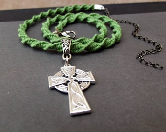Mens Celtic Cross Necklace:  St. Patricks Day Adjustable Choker, Bright Kelly Green Macrame Cord Necklace, St. Pattys Unisex Jewelry