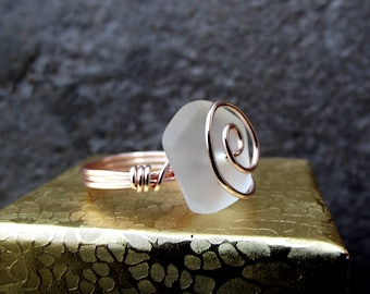 Modern Rose Gold Ring:  White Sea Glass Ring, Wire Wrapped Nautical Ring, Beach Wedding Jewelry, Mother's Day