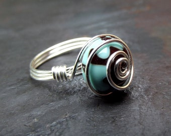 Turquoise Green Ring:  Silver Swirl Wire Wrapped Ring, Mint Green and Chocolate Brown Artisan Lampwork Glass Ring