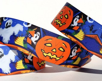 "Halloween Jack o lantern Grosgrain Ribbon 1"" Wide"