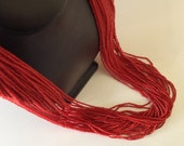 Twist or Flow Multistrand Vintage Coral Red and Silver Seed Bead Necklace