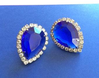 Large Elegant Royal Blue and White Pierced Earrings