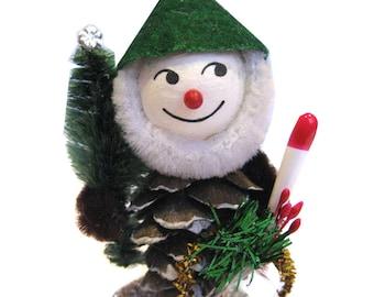 Christmas Ornament Pinecone Elf Gnome- GREEN hat