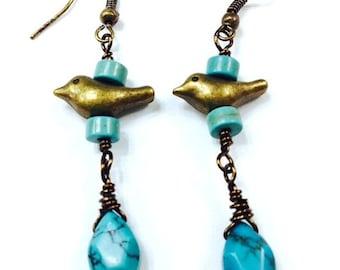 Bird Earrings, Boho Earrings, Turquoise Earrings, Bohemian Jewelry, Hippie