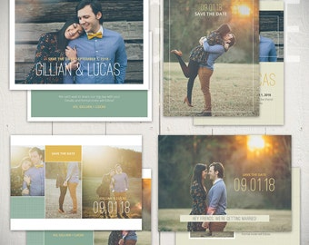 Save The Date Card Templates: Adored Collection - Set of Four 5x7 Engagement Card Templates