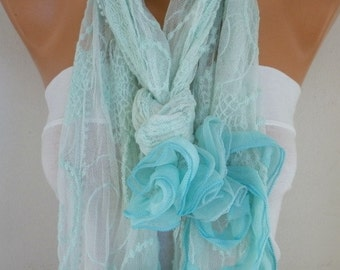 Mint Lace Floral Scarf,Wedding Shawl,Bridal Scarf, Cowl,Bridal Accessories bridesmaid gift Gift Ideas For Her Women's Fashion Accessories