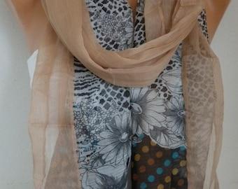 50% OFF - Beige Floral Chiffon Scarf,Wedding Scarf,Teacher Gift,Shawl,Fall Scarf,  Cowl Scarf Gift Ideas For Her Women's Fashion Accessories