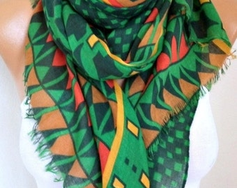 Green Cotton Scarf, Valentine's Day Gift Fall Winter Fashion,Shawl, Cowl,  Bridesmaid Gift Gift Ideas For Her, Women Fashion Accessories