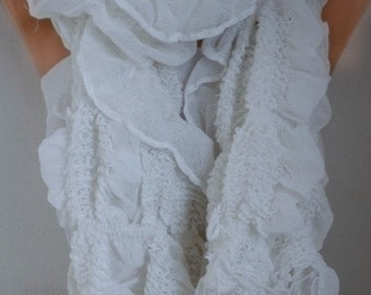 White Ruffle Cotton Scarf Spring Summer Scarf, Cowl Scarf  Gift Ideas For Her Women's Fashion Accessories