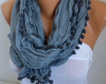 Gray Pompom Scarf,Summer Shawl,Birthday Gift, Cowl Gift Ideas For Her Women Fashion Accessories Scarves,Teacher  Gift
