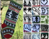Knitting Pattern Collection of 16 Christmas Stockings Charts fair isle with detailed instruction for Personalized Santa Sock PDF only