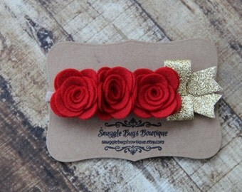 Rose Trio Headband in Red with Gold Metallic Bow on Nylon Elastic Headband -One Size Fits All