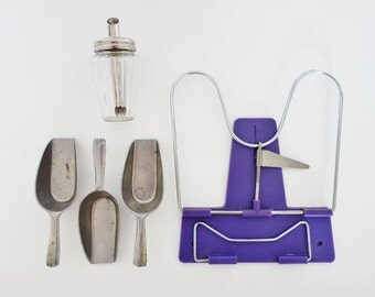 Vintage Kitchen Set: Sugar Bowl, 3 Servers Spoons, Cookbook Holder Grey and Purple Made in West Germany