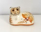 Burnished Ceramic Tonala Cat Figurine - Mexican Folk Art Pottery