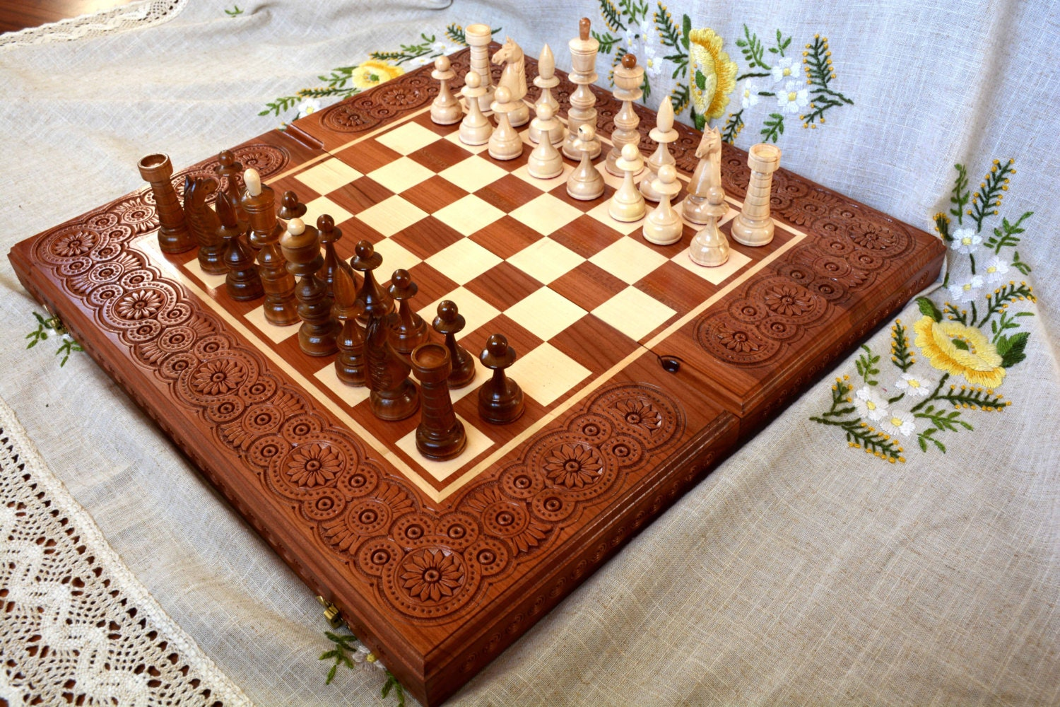 Wooden Chess Table ~ Wooden chess backgammon board wood checkers carving game