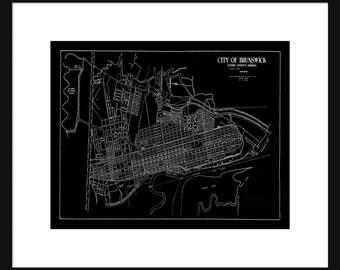 Brunswick GA -  Map - Black Street Map Vintage