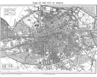 1870 Vintage Map Of Dublin Ireland Print Poster