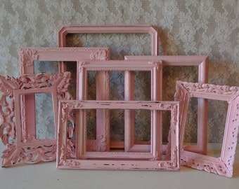 Pink Frames, Shabby Cottage Picture Frames, Frame set, Frame grouping, Cottage Chic, Girl's Bedroom, Nursery, Painted frames, Wall gallery