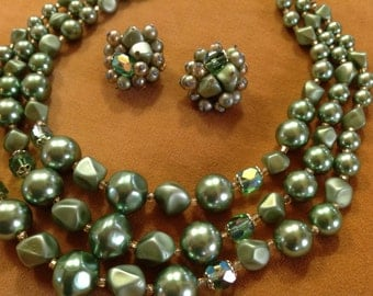 Chunky Triple Strand Green Beaded Necklace and Earrings Set
