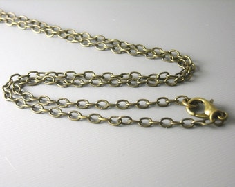 CHAIN-AB-4mmx3mm2 - Solid Antiqued Brass Necklace - Choose your length