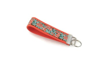 Orange Key Fob - Stocking Stuffer - Orange and Aqua - Ribbon Key Ring - Gift Under 10