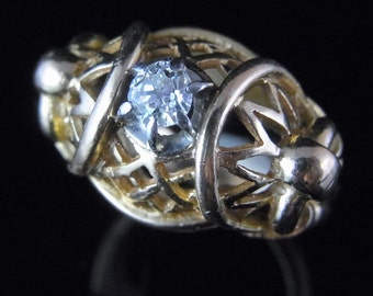 Estate Old European Cut Diamond 18k Yellow Gold Ring Retro Steampunk Vintage