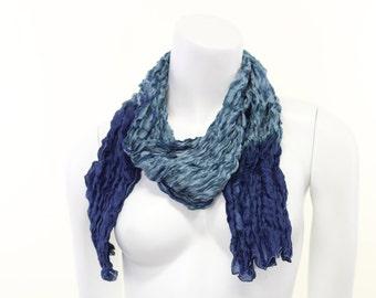 Crinkle- Crushed- Pure Silk- Hand painted- indigo- blue- sky blue- striped- sea blue- scarf- summer- beach- resort- shibori- tied and dye