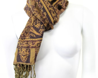 scarf- woven-jacquard-paisley-brown-earth tones-caramel-brown and mustard-autumn-pure wool