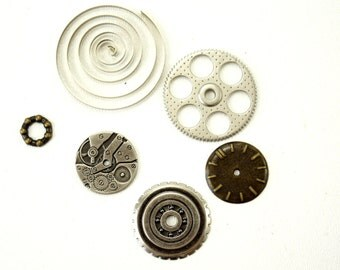 Metal Gears and Sprockets (Set of 6) in Silver and Brass - Altered Art, Steampunk, and more