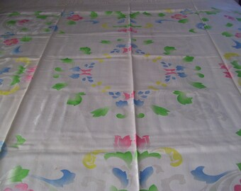 Ivory Damask Tablecloth with Pastel Flowers, plus Six Napkins-SALE