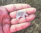 Hand Stamped mama bear Necklace