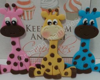 FONDANT Giraffe Cake Topper - Baby. shower/Birthday Party/Cake Supplies/Cupcakes/Baby Boy Topper/Fondant